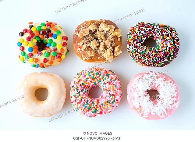Six Decorated Doughnuts