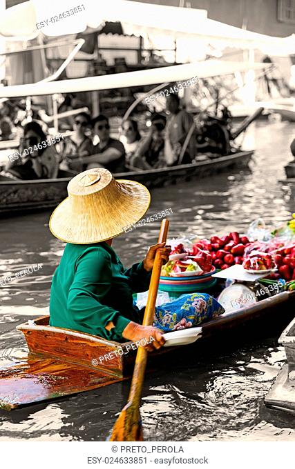 Traditional floating market in Damnoen Saduak near Bangkok. Old retro vintage style