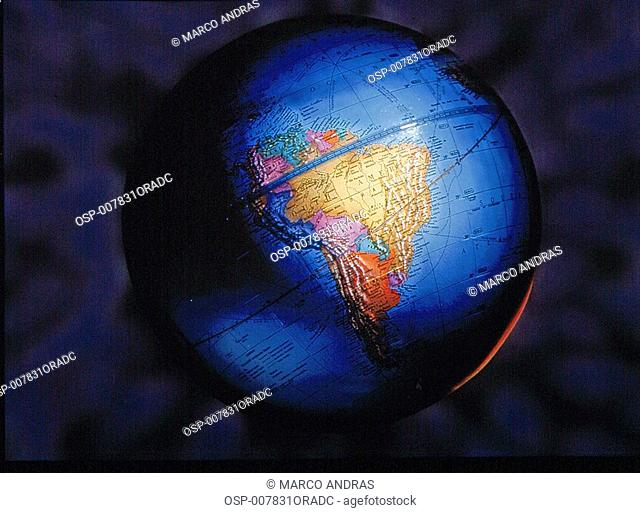 earth globe on dark side light
