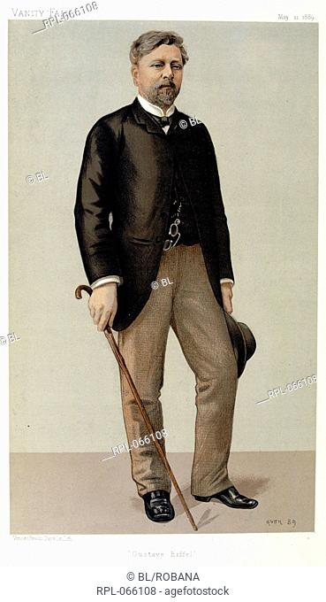 Alexandre Gustave Eiffel 1832-1923. French engineer, designer of the Eiffel Tower. Portrait. Image taken from Vanity Fair: a weekly show of political, social