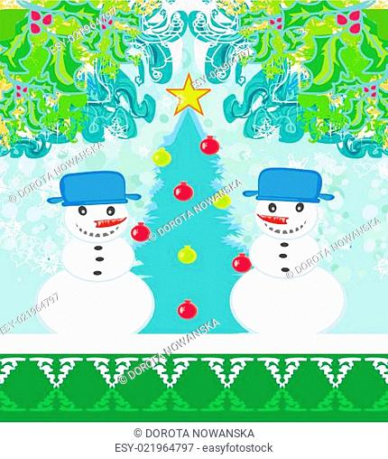 Christmas card with two funny snowmen