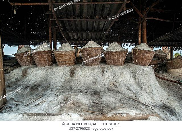 Baskets of salt at Khok Saath Iodized Salt Factory, Vientiane, Laos