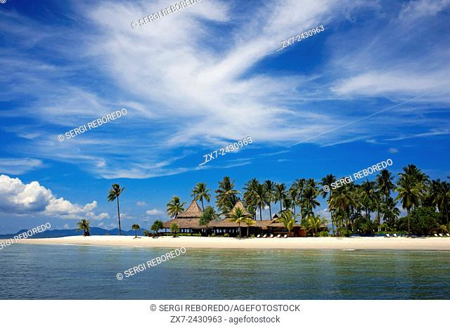 Hotel on a palm-lined beach, Koh Mook Sivalai Beach Resort Hotel, island of Ko Muk or , Thailand, Southeast Asia, Asia. Sivalai Beach Resort