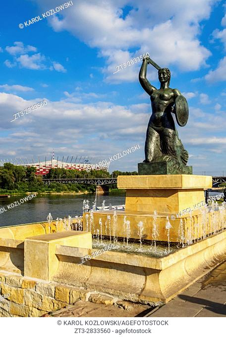 Poland, Masovian Voivodeship, Warsaw, Powisle Neighbourhood, The Warsaw Mermaid