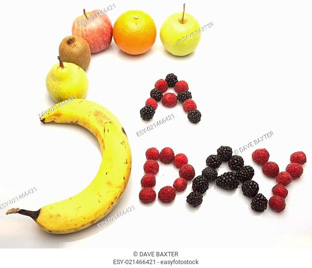 Fruits in the shape of 5 a day