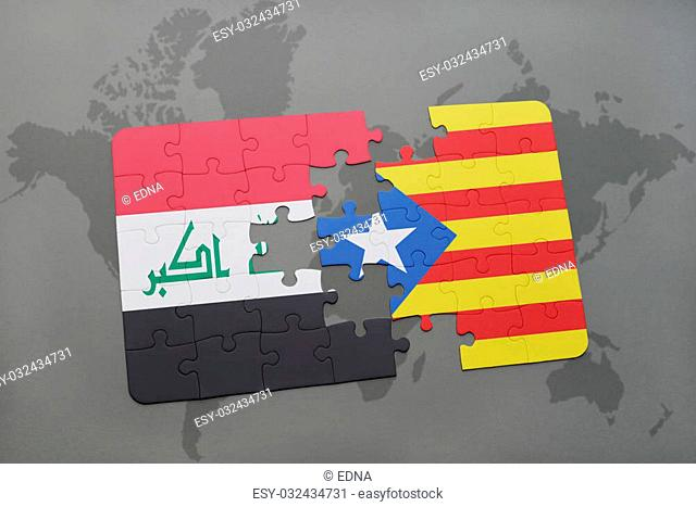 puzzle with the national flag of iraq and catalonia on a world map background. 3D illustration