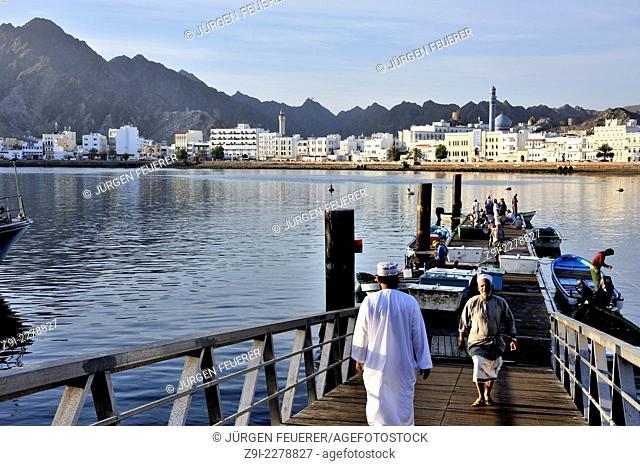 Early morning in Corniche, the bay of Mutrah, Muscat, Sultanate of Oman