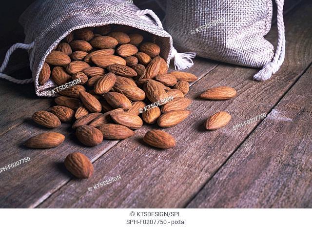 Almonds in hessian sack