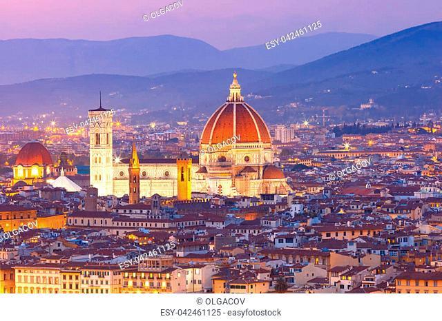 Beautiful panoramic view of Duomo Santa Maria Del Fiore at beautiful sunset in Florence, Tuscany, Italy