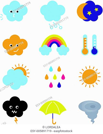 Weather cast cute elements set isolated on white