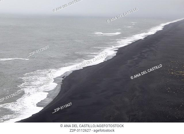 Black beach from Dyrholaey viewpoint in Iceland