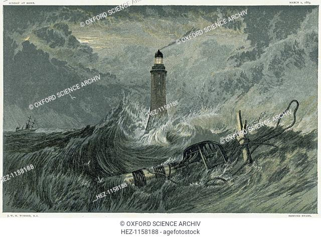Third Eddystone lighthouse, 19th century. Built by the English civil engineer John Smeaton (1724-1792) between 1757 and 1759