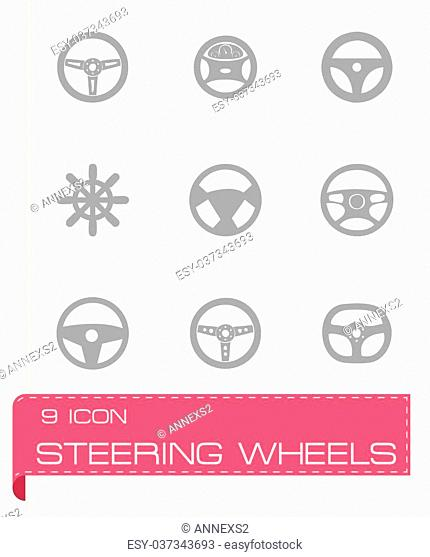 Vector steering wheels icon set on grey background