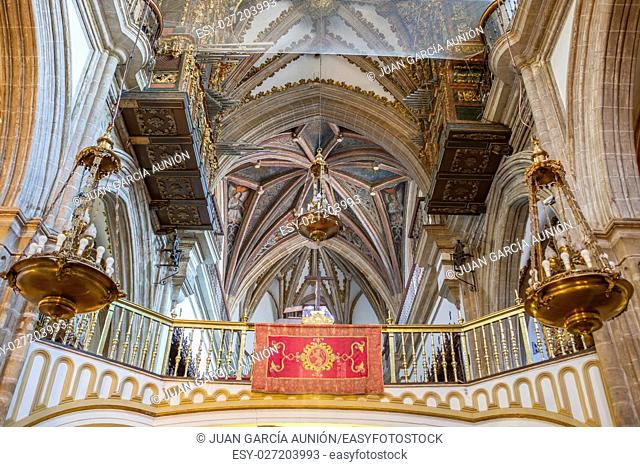Virgin of Guadalupe Monastery Church indoor. Choir area