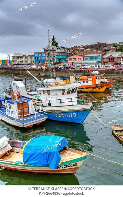 Fishing boats in the small harbour of Castro, Chile, South America