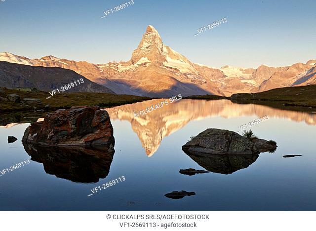 Stellisee, Zermatt, Switzerland. Matterhorn views from Stellisee at sunrise