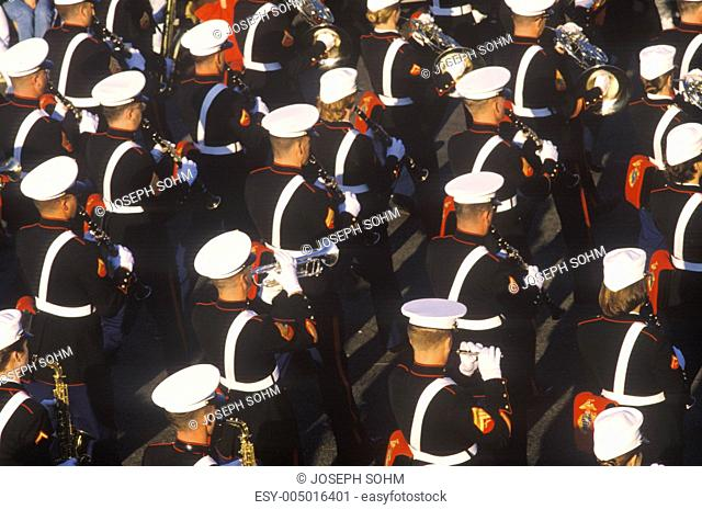 United States Marine Band Marching in Parade, Pasadena, California