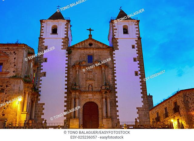 Caceres San Francisco Javier church sunset in Spain Extremadura