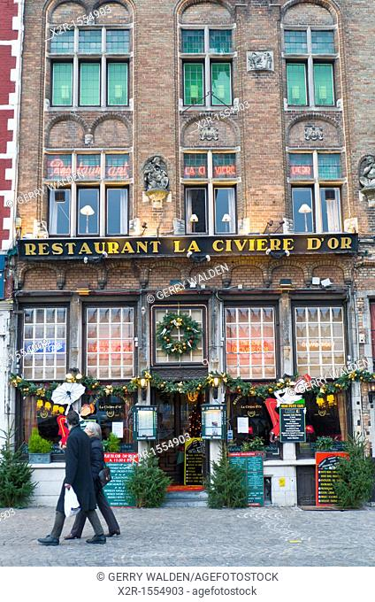Restaurant in the centre of Brugge, Flanders, Belgium shown just prior to Christmas