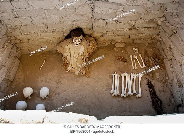 Mummy of the Ica-Chincha culture, Chauchilla Cemetery, Nasca or Nazca, Peru, South America