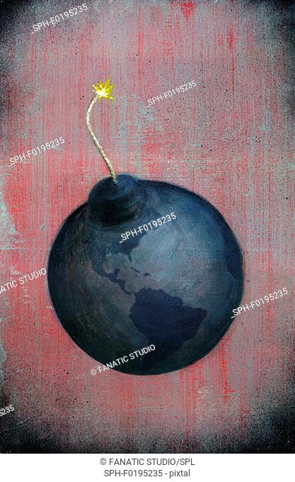 Illustration of globe lit up as a bomb