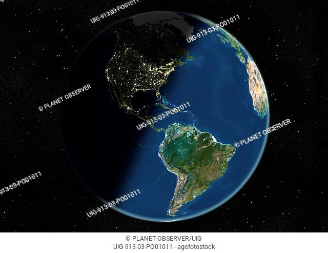 Globe Centred On The Americas, True Colour Satellite Image. True colour satellite image of the Earth centred on the Americas, during winter solstice at 12 a