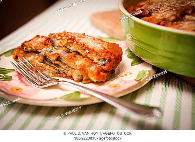 eggplant parmesan in casserole dish