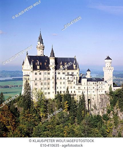 View from Marienbruecke to castle Neuschwanstein near Fuessen Germany