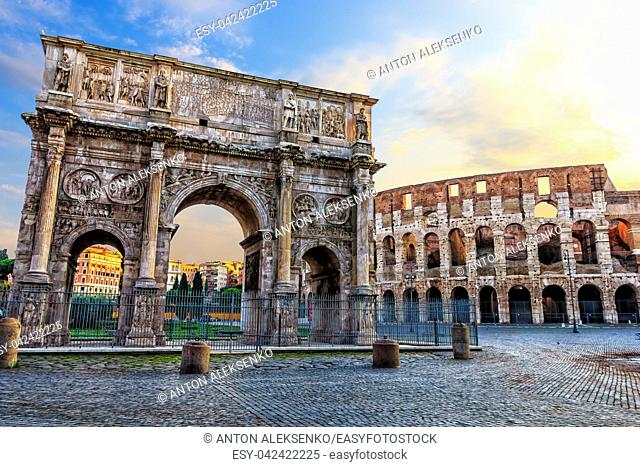 The Coliseum and the Arch of Constantine in Rome. Italy