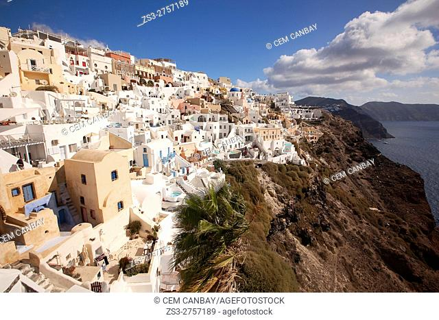 View to the houses in Oia village, Santorini, Cyclades Islands, Greek Islands, Greece, Europe
