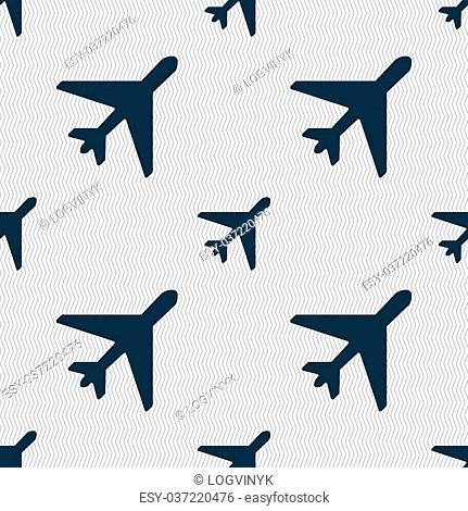 airplane icon sign. Seamless pattern with geometric texture. Vector illustration