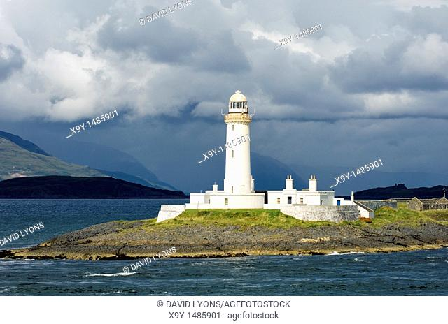 Lighthouse on Eilean Musdile at southern tip of island of Lismore in the Firth of Lorn, Argyll and Bute, western Scotland, UK
