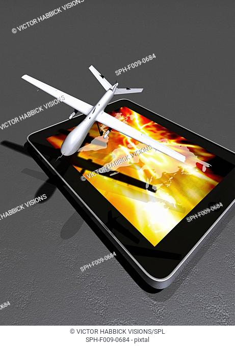 Artwork of a drone aircraft on a digital tablet
