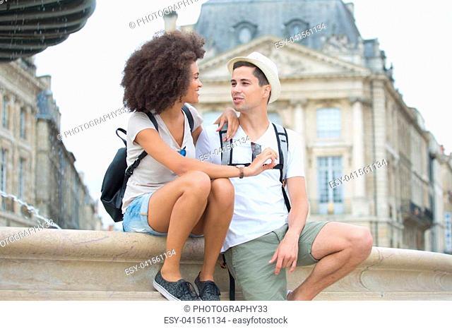 Young couple on city break