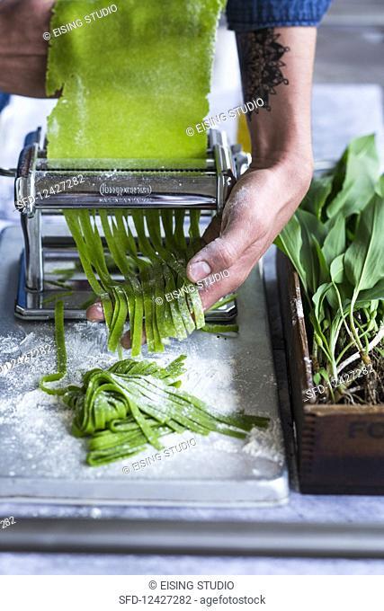 Homemade wild garlic pasta
