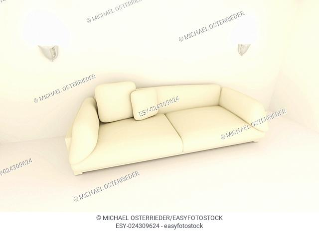 3D rendered Interior. A Sofa in a beige room