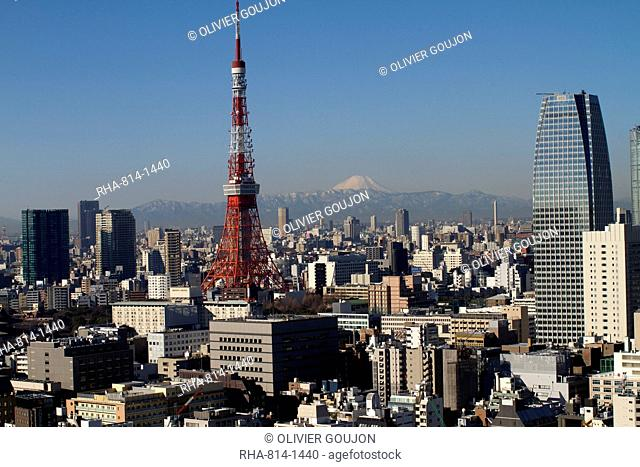 Tokyo tower, city skyline and Mount Fuji beyond, Tokyo, Japan, Asia