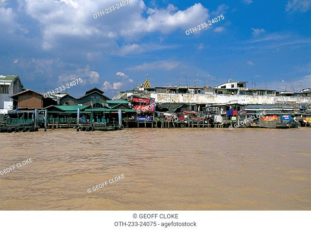 View from a ling-tailed boat on the River Chao Phraya River, Bangkok