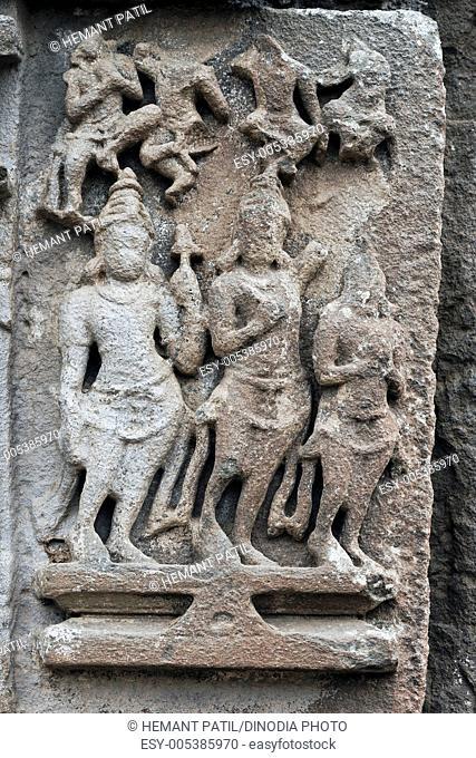 Stone carving in Iyeshwareshware Shiva temple ; Sinner Sinnar ; Nasik District ; Maharashtra ; India