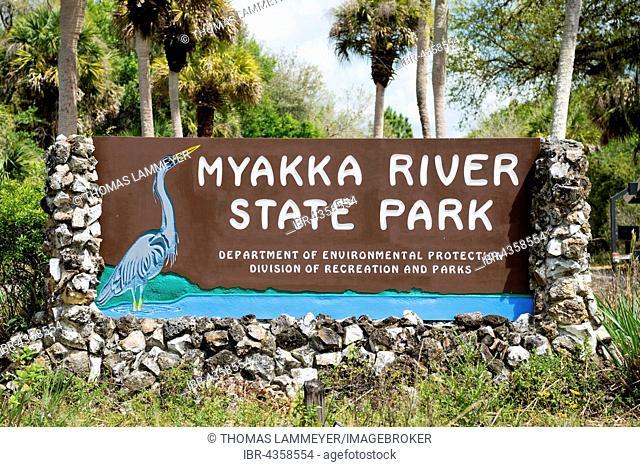 Entrance sign to park, Myakka River State Park, Florida, USA