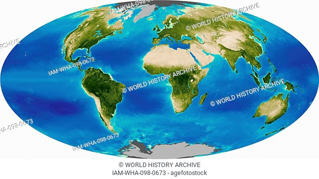 Graphic illustrating the Global Biosphere in 2005. The biosphere also known as the ecosphere, is the worldwide sum of all ecosystems