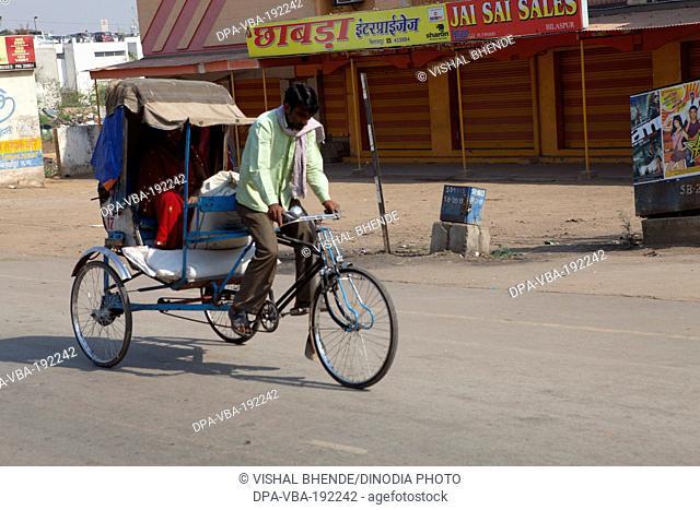 Man Riding Cycle Rickshaw Bilaspur Chattisgarh Uttaranchal India Asia