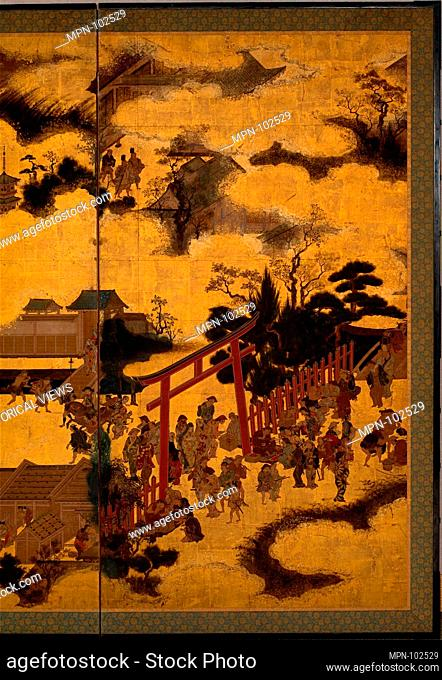 At the Shrine Gate. Period: Edo period (1615-1868); Date: 17th century; Culture: Japan; Medium: Two-panel folding screen; ink, color