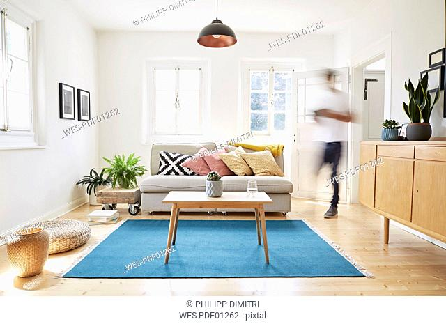 Man walking in bright modern living room in an old country house