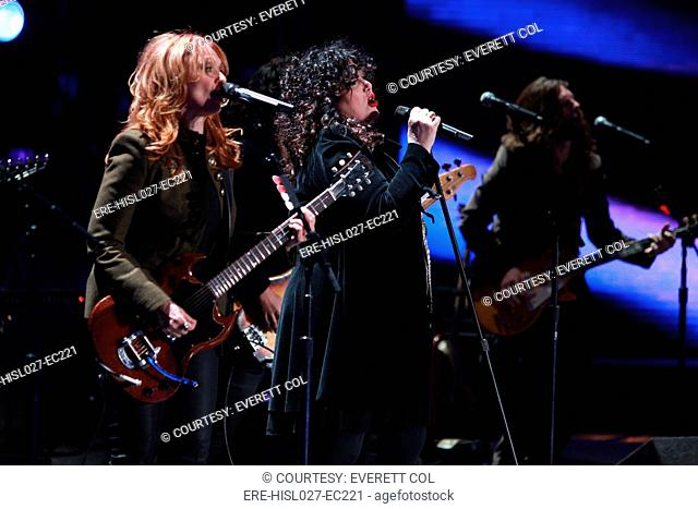 Ann and Nancy Wilson of Heart perform for US military the '2010 Divas Salute the Troops' concert at Marine Corps Air Station Miramar near San Diego California