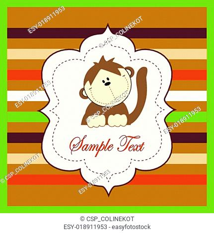 Bright card with a monkey