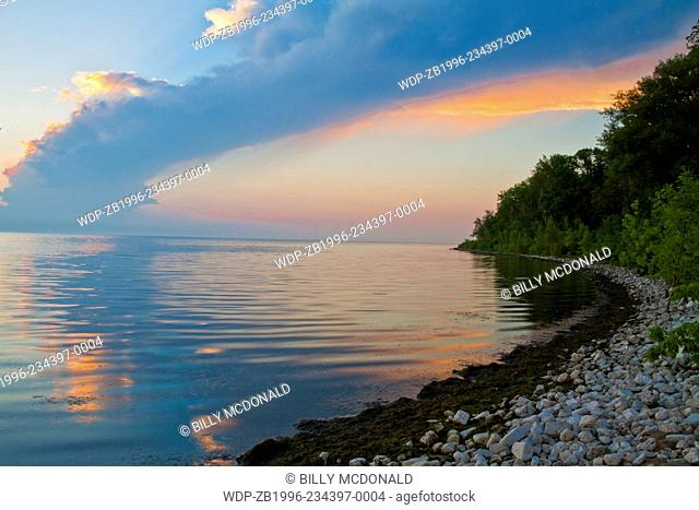 Sunset on Limestone Covered Beach Along The Shore of Green Bay, George K. Pinney County Park Formerly Known as Olde Stone Quarry County Park, Sturgeon Bay