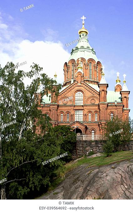View of the Uspesky Cathedral in Helsinki, Finland