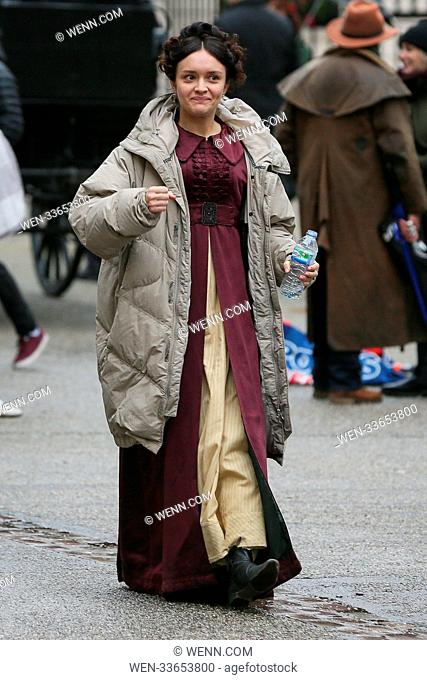 Claudia Jessie playing the part of Amelia Sedley seen filming scenes for' Vanity Fair' TV period drama. Olivia Cooke was also seen on the film set - London...