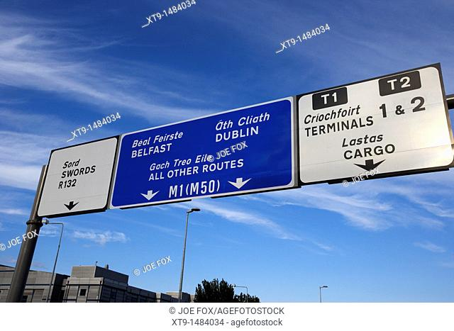 roadsign for terminals and motorways at dublin airport republic of ireland europe